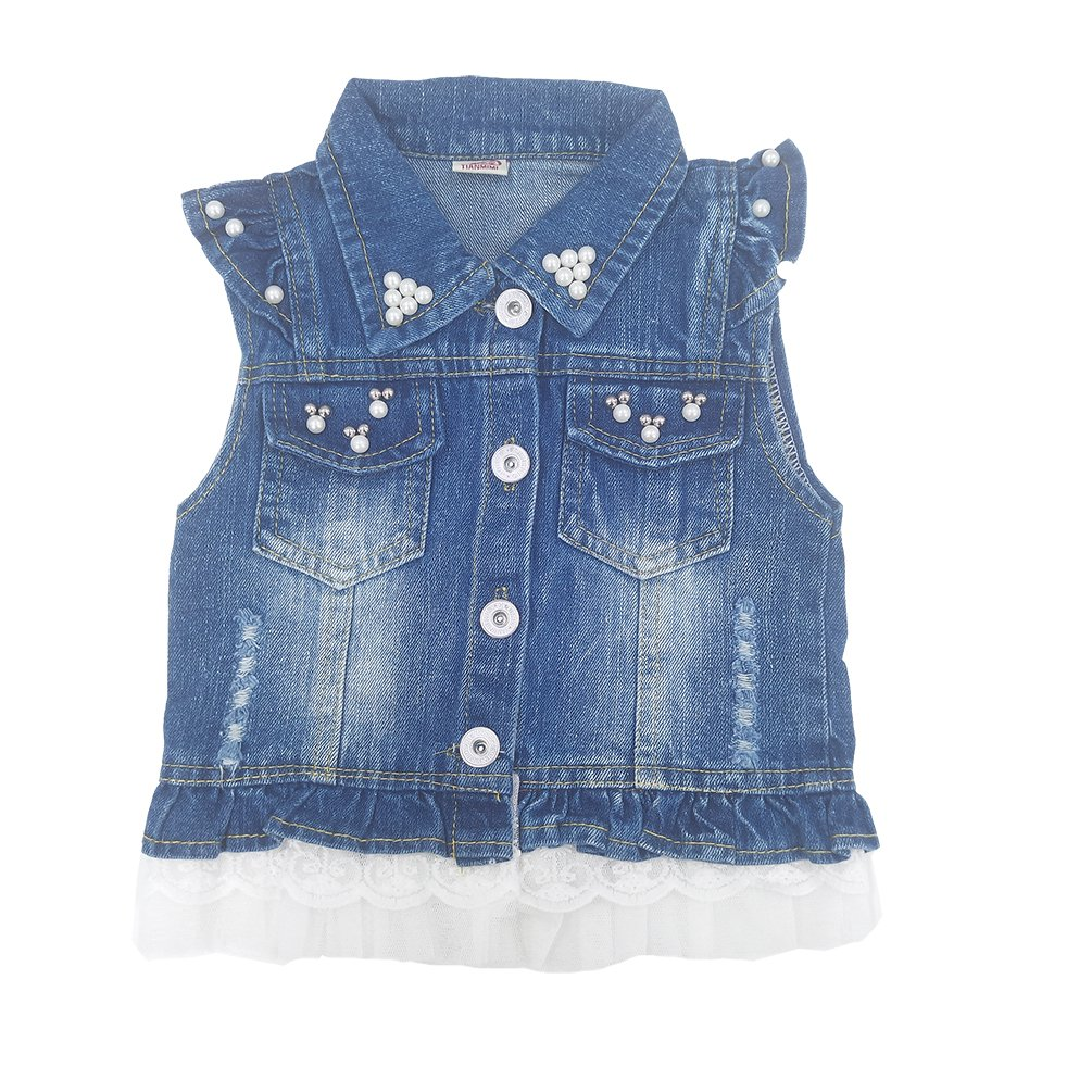 Chumhey Baby & Little Girls Lapel Ruffle Sleeve Lace Trim Pearls Denim Vests