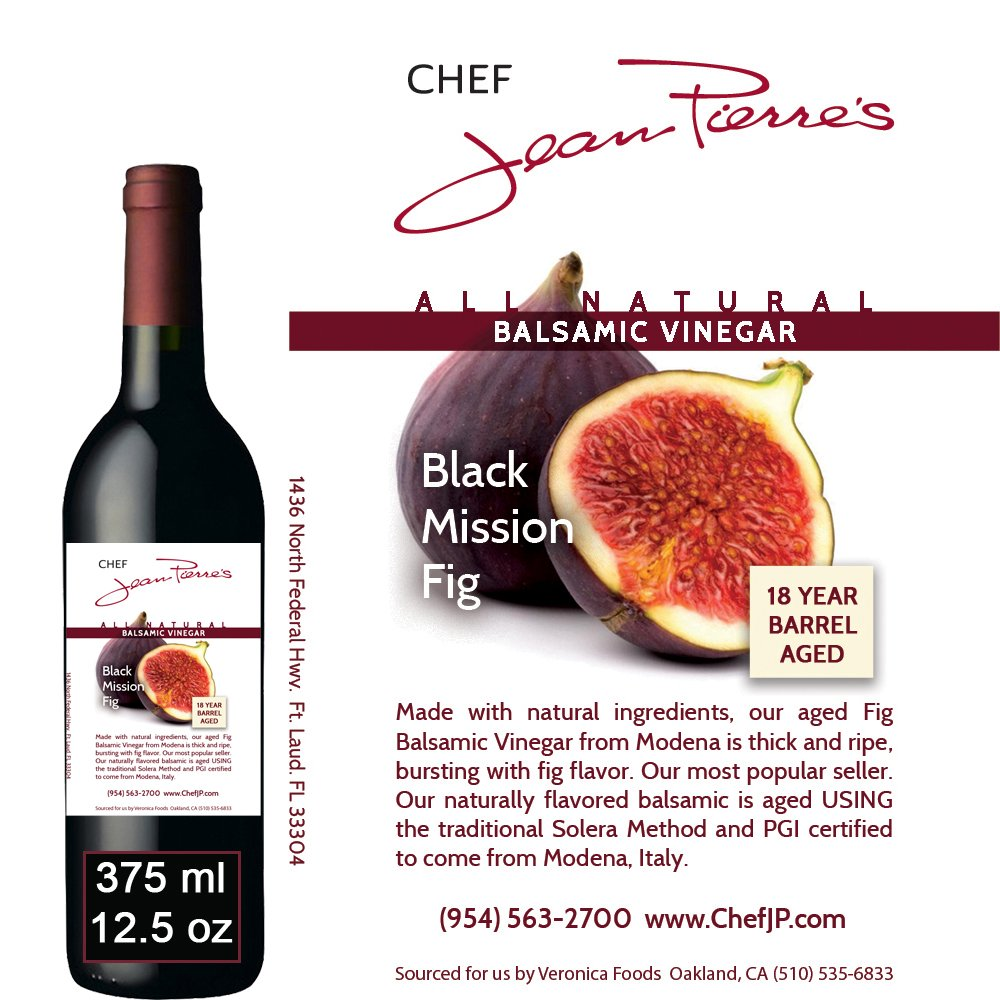 Black Mission Fig Aged 18 Years Italian Balsamic Vinegar 100% All Natural 375ml (12.5oz) by Chef Jean-Pierre's