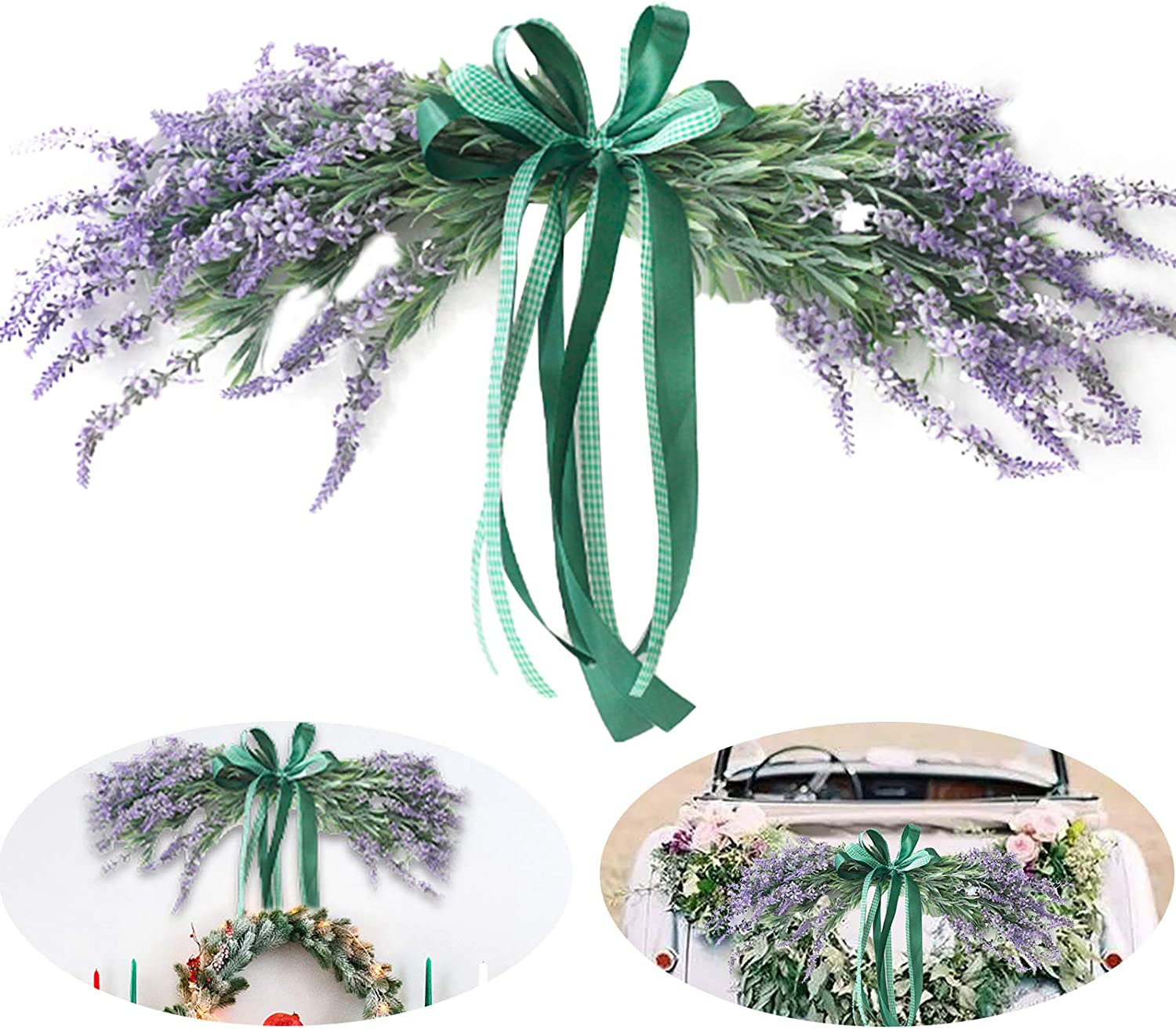 NMFIN Lavender Door Swag, Purple Handmade Artificial Floral Chair Garland with Ribbon Bow for Wedding Table Centerpiece, Flower Arrangement, Home Decor, 21.6In