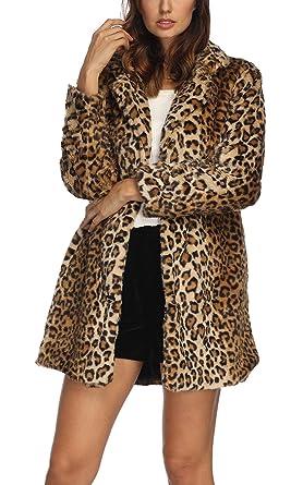 74c352be4527 Comeon neu Damen Sexy modern Herbst Winter slimm fit Leopard-Druck  Kunstpelz Pelz Parke Outwear