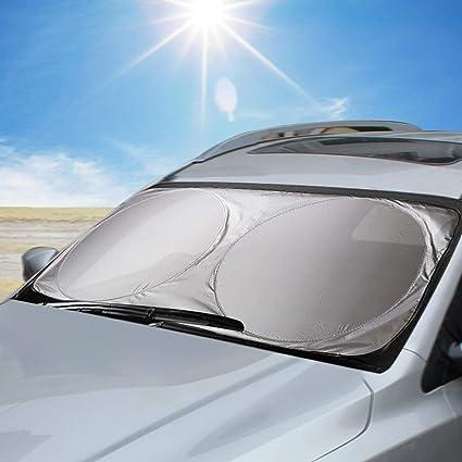 Windschutzscheibe Sonnenschutz Uv Strahlen Protektoren Kktick Premium Qualität Auto Sonnenschutz Reduziert Innen Wärme Schützt Kinder Einfach Universal Fenster Schatten Hält Fahrzeug Cool 149 9 X 68 6 Cm Sport Freizeit