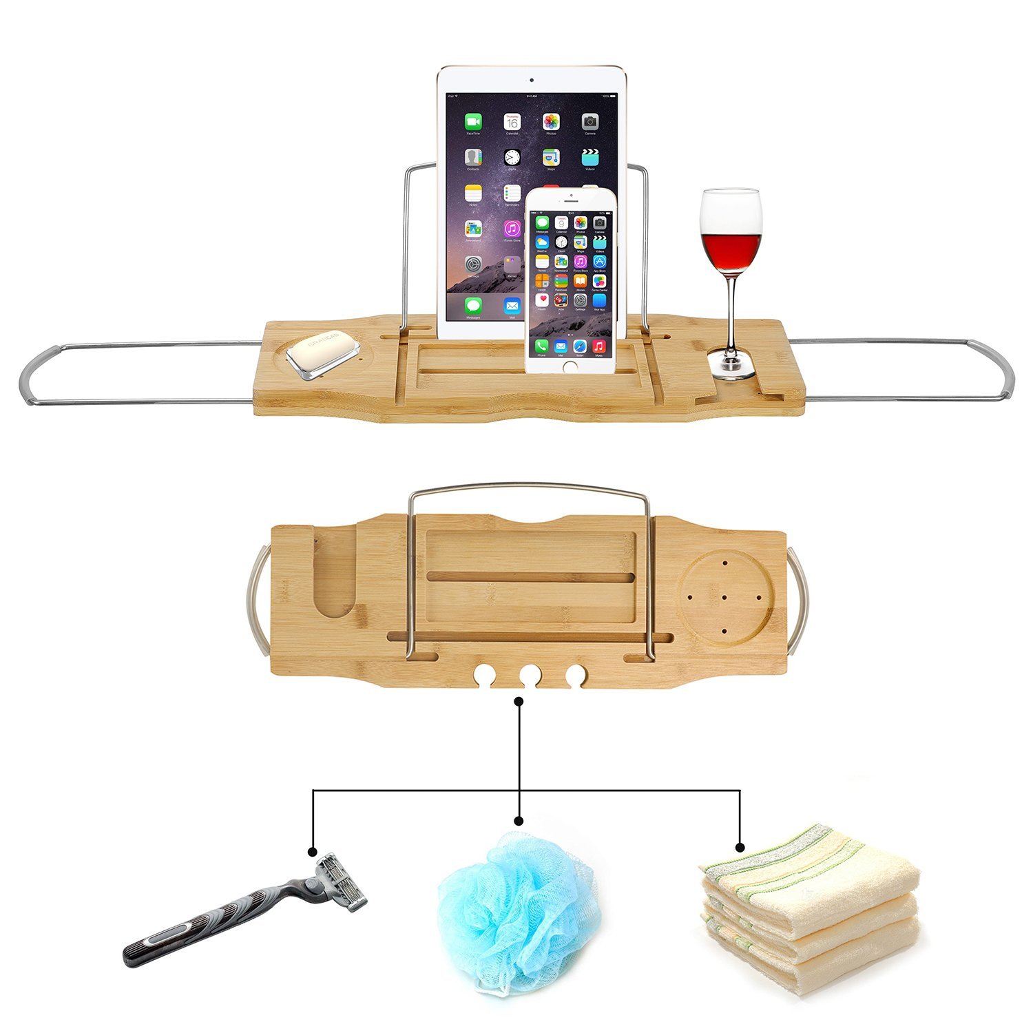 Utoplike Extendable Bamboo Bathtub Caddy Tray Bathtub Rack with Stainless Steel Arms Adjustable Book Holder and Slots for Wine Ipad Phone