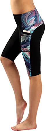 Zinmore Women's Knee Length Tights Yoga Shorts Workout Pants Running Leggings Pockets