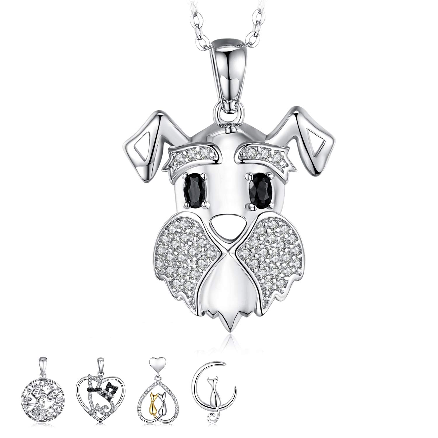 925 Sterling Silver Dog Pendant Cubic Zirconia Collar