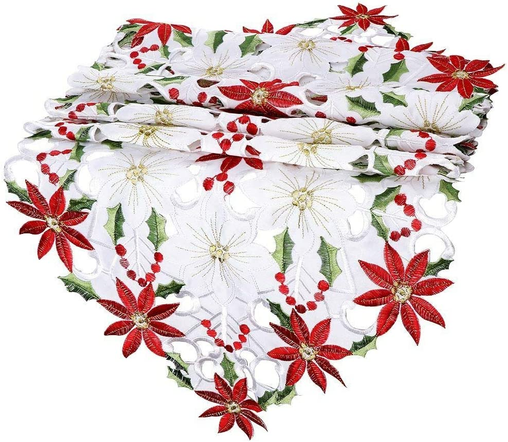 AutoWT Embroidered Christmas Table Runner Elegant Table Linens with Poinsettia Holly Leaf and Tassels for Christmas Decoration 12 x 61 inch