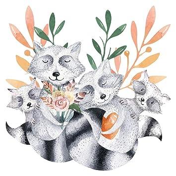 Pegatina de pared Salón acuarela Linda familia de animales con mapaches y elementos florales con aspecto
