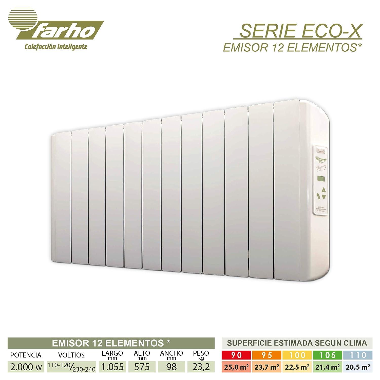 farho Radiador Electrico Bajo Consumo Eco-X + Juego de Ruedas ··· 1500 Watios · TERMOSTATO Digital Programable (7 días / 24 HR) · Emisor Termico Ideal hasta ...