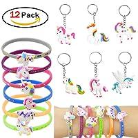 RUNFON Licorne Bracelets trousseau Porte-clés,pour Birthday Party Supplies Favors, Jouets fantaisie et école récompenses en classe - 12PACK
