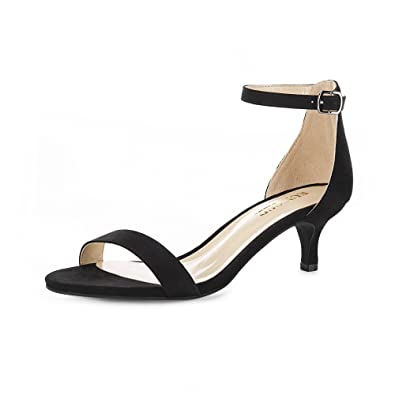 52bff4b899f2 Eunicer Women s Open Toe Ankle Strap Low Heel Stiletto Sandals Working Party  Shoes (Black)