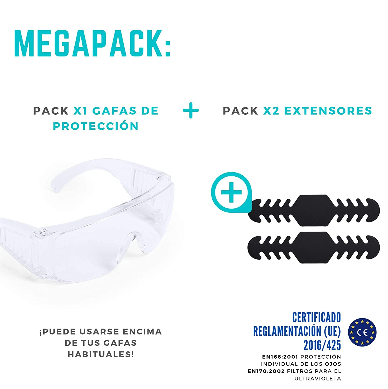 trabajo C/ómodo para Uso Diario con Ventilaci/ón Lateral MegaPack de Gafas de Protecci/ón y Seguridad Transparentes Regalos Extra Anti Salpicaduras Impactos y Polvo con Certificaci/ón Europea