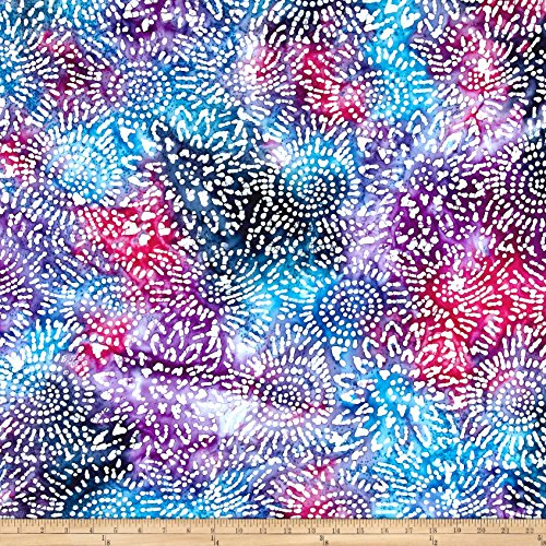 Textile Creations Cotton Jersey Knit Abstract Sunflower Fuschia/Blue/Purple Fabric by The Yard
