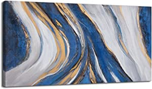 Abstract Wall Art Canvas Art Wall Decor Framed Wall Art for Living Room Modern Home Decor Blue Whit Yellow Theme Abstract Prints Wall Decorations for Bedroom Size 24x48 Large Wall Art Modern Decor