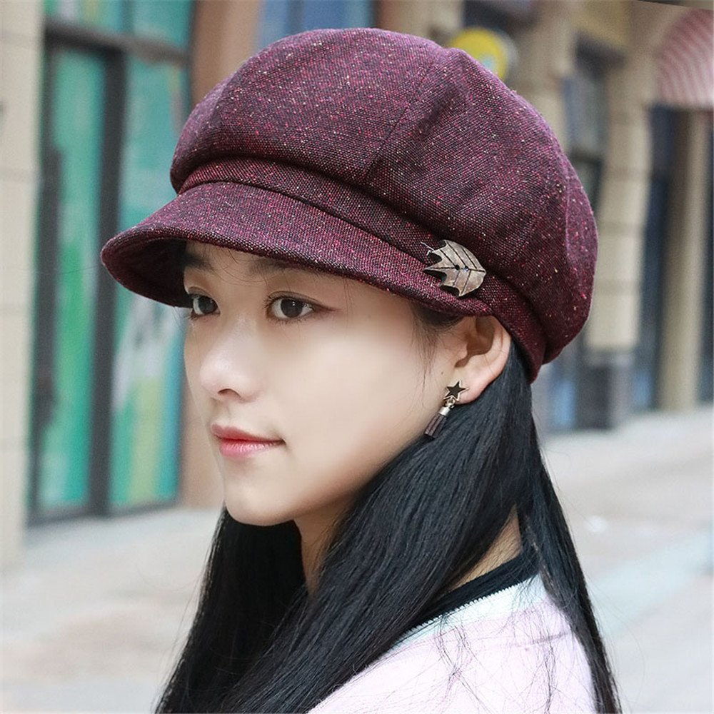 Donne Ms. autunno traspirante cappuccio della dome femmina moda tempo libero Hat Beret berretto tutti-match giovane madre tappo per circonferenza testa: 54-58cm regolabile,piccola piccola dimensione 54-58cm regolabile),rosso scuro