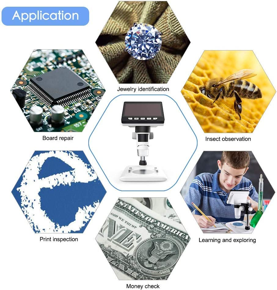 LCD Digital Microscope Microscope with 4.3 Inch Display 1000X Magnification Zoom HD 1080P Screen Microscopes 8 Adjustable LED Light Video Microscope for Windows PC
