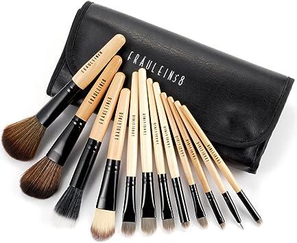 Fraulein Set de 12 Brochas Pinceles Profesional de Maquillaje con Manta Funda Negro #121: Amazon.es: Bricolaje y herramientas