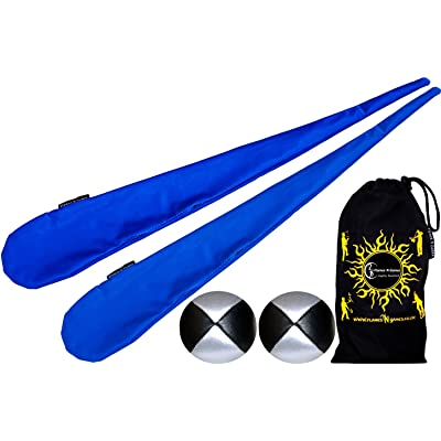 Flames N Games Sock Poi Set (BLUE) Pair of Quality Stretchy Lycra Spinning Poi Socks + 2x90g Balls & Travel Bag.: Toys & Games