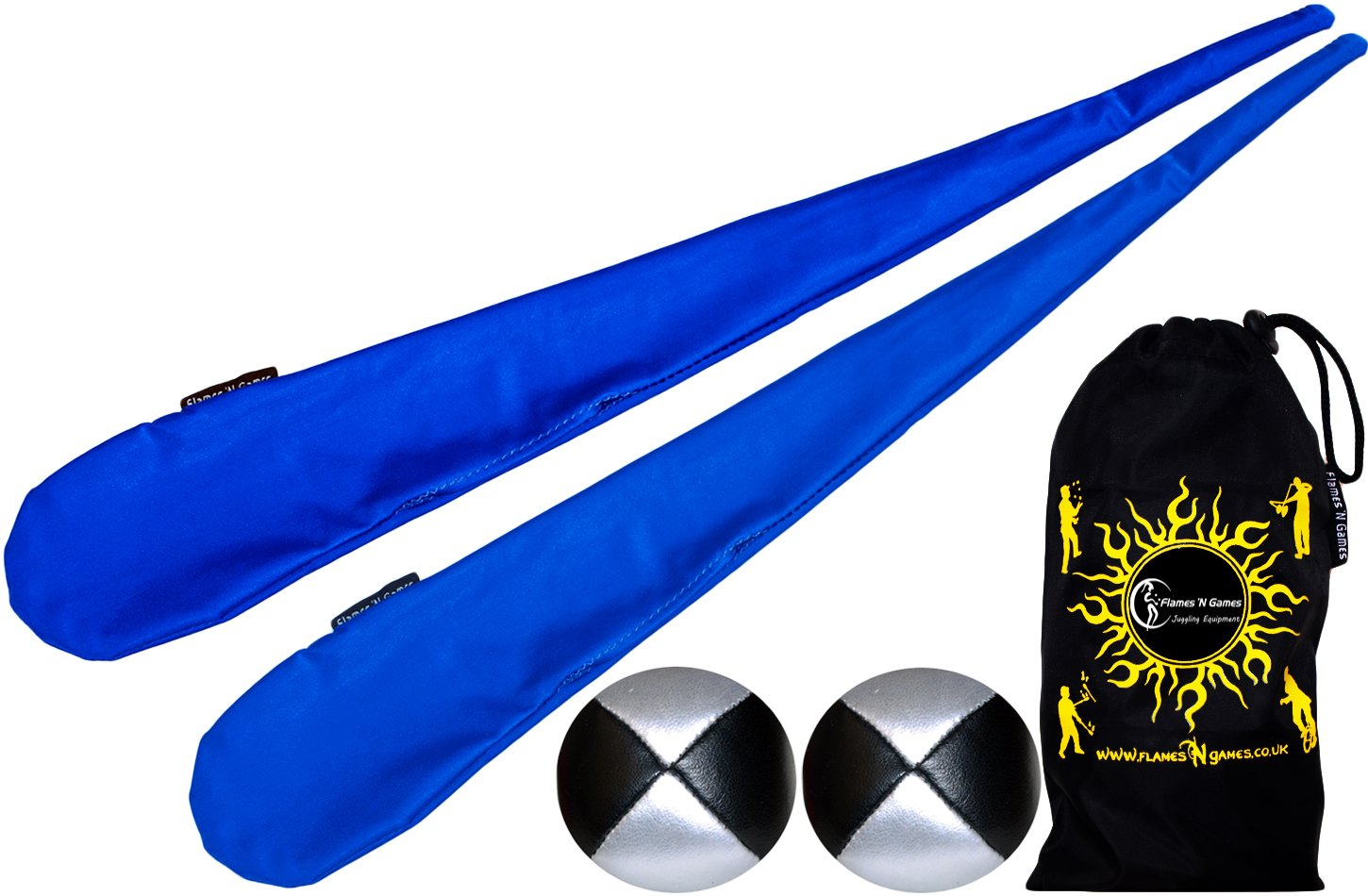 Flames N Games Sock Poi Set BLUE Pair of Quality Stretchy Lycra Spinning Poi Socks 2x90g Balls Travel Bag.
