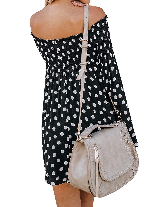 Style Dome Damen Sommerkleider Lange /Ärmel Schulterkleid Blumenmuster Kurzes Strandkleid Lang Maxikleid