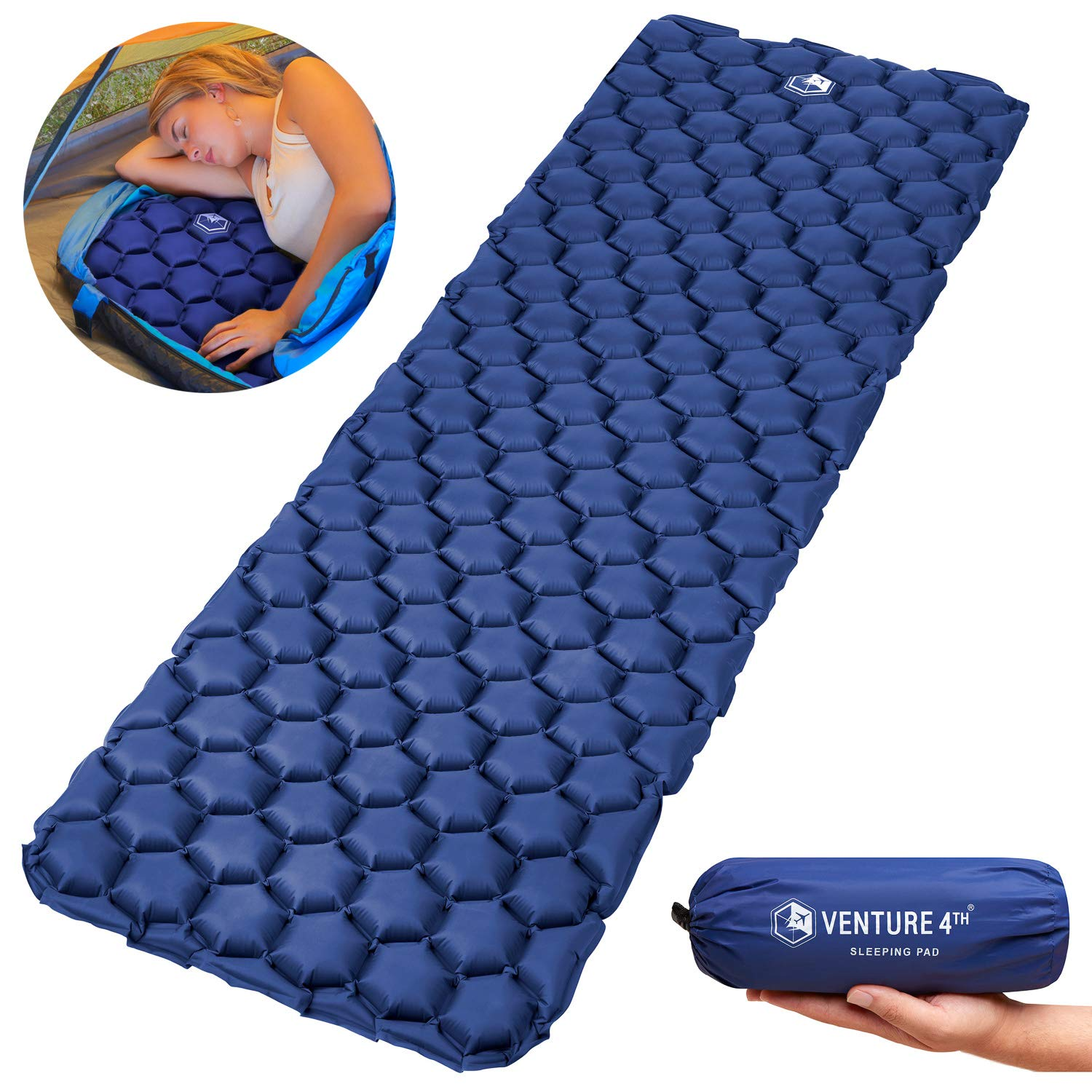 VENTURE 4TH Ultralight Air Sleeping Pad - Lightweight, Compact, Durable - Air Cell Technology for Added Stability and Comfort While Backpacking, Camping, and Traveling (Dark Blue) by VENTURE 4TH