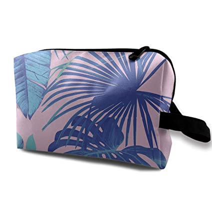18dbf77b58b8 Image Unavailable. Image not available for. Color  Pinkipory Travel Cosmetic  Bag Portable Handbag Charming Leaves Toiletry Pouch Small ...