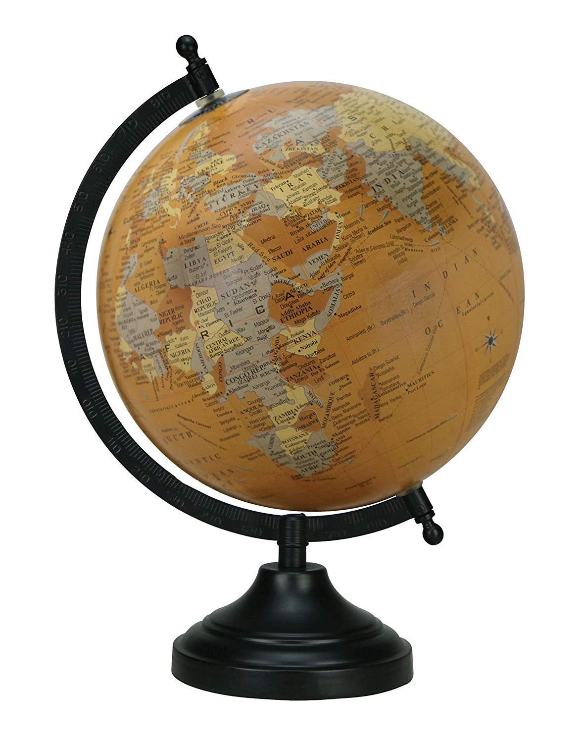 Home Decor Antique Globe with Black Matt Arc and Base World Globe 8 Mustard Educational Gift Item by Globes Hub Office Decor