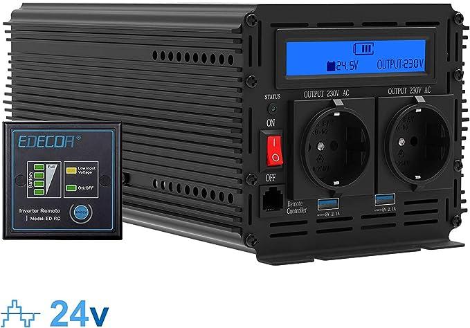 Inversor electrico de 2000 4000w convertidor de voltaje de 24v a 230v transformador de corriente de onda sinusoidal modificada LCD: Amazon.es: Coche y moto