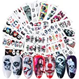 Halloween Nail Stickers Day of the Dead Water Transfer Nail Decals 25 Sheets Skull Ghost Eye Hulk Clown Witch Nail Art…