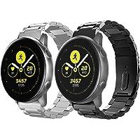 TiMOVO armband geschikt voor Galaxy Watch Active/Active 2/Galaxy Watch 42mm/Gear S2 Classic, [2-Pack] RVS horlogebandje…