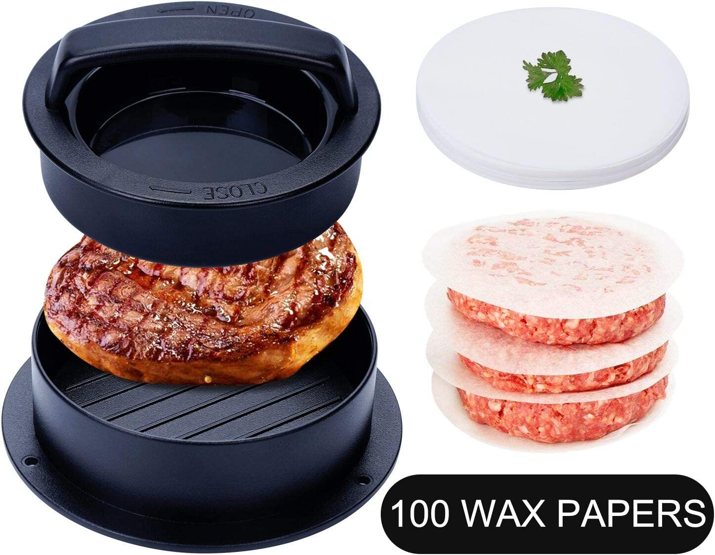 TDHDIKE 3-in-1 Stuffed Burger Press with 100 Free Burger Papers, Works Best for Stuffed Burgers, Sliders, Regular Beef Burger, BBQ Grilling & Gourmet Kitchen Tool
