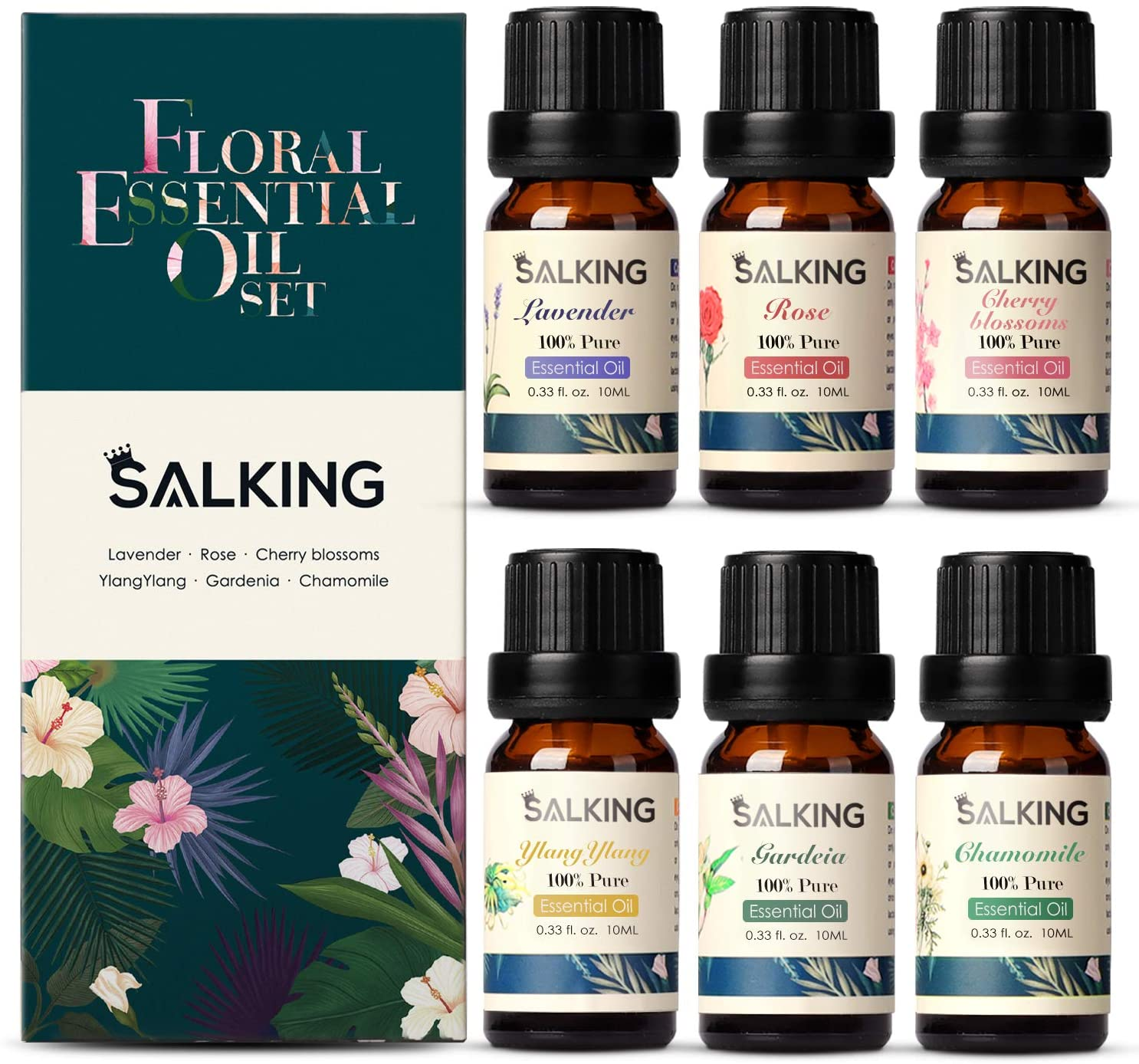 Floral Essential Oils Set, SALKING Pure Floral Collection with Lavender, Rose, Ylang Ylang, Cherry Blossom, Chamomile, Gardenia Essential Oils for Diffusers, Aromatherapy, Massage, 6x10ML