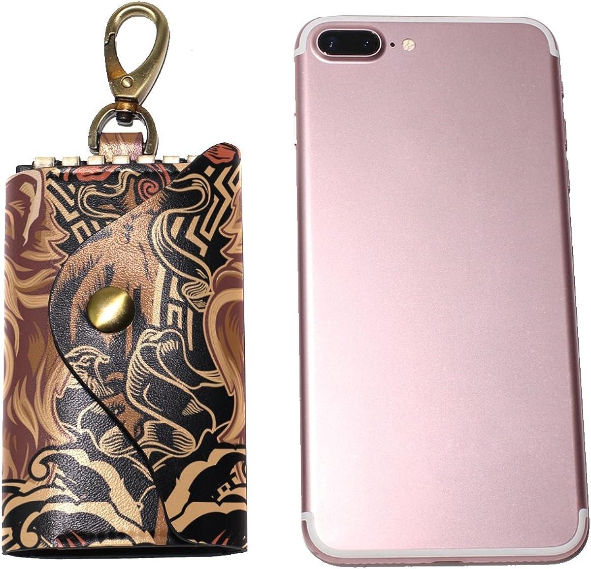 DEYYA Island Lion Leather Key Case Wallets Unisex Keychain Key Holder with 6 Hooks Snap Closure