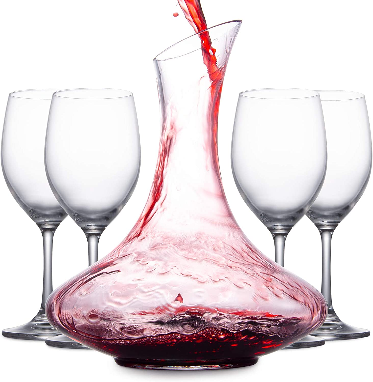 Mafiti 1.8L Wine Aerator Decanter and Carafe with 4 Red Wine Glasses Gifts for Women Men Wine Lovers