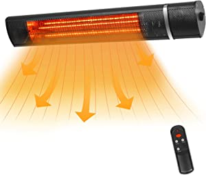 VQVG Wall-Mounted Infrared Heater, 1500W Electric Patio Heater with 3 Heating Setting, Outdoor Heater with Remote Control, Waterproof IP65, Easy Install, Quiet Operation, Black
