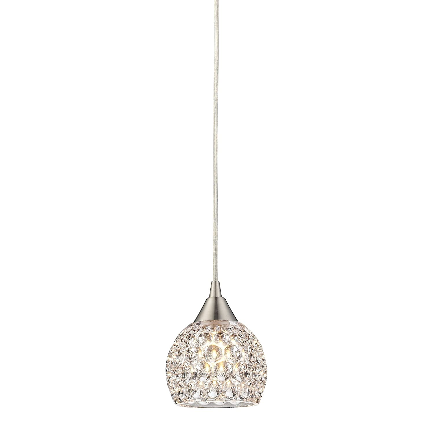 Awesome Satin Nickel Pendant Light Part - 13: Elk Lighting 10341/1 Kersey Collection 1 Light Mini Pendant, Satin Nickel -  - Amazon.com
