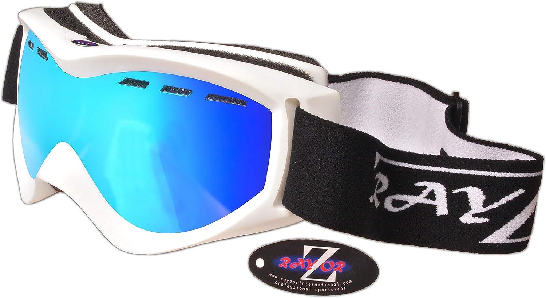 Rayzor Profesionales UV400 Dobles con Lentes de EsquÍ/Snowboard Gafas, con un Marco Blanco y un Niebla Anti Coated, ventilación Azul Iridium Espejo antideslumbrante Amplia Claridad Lente Vision.
