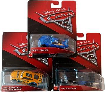Pack Regalo Original 3 Coches Disney Cars 3 (Daniel Swervez, Dinoco Cruz Ramirez, Jackson Storm): Amazon.es: Juguetes y juegos