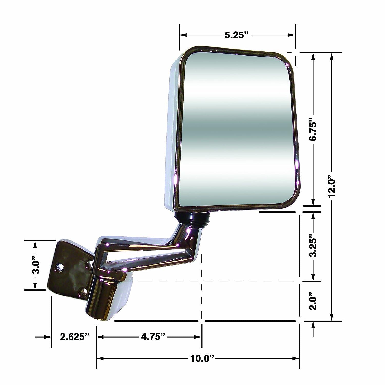 CIPA 44400 Jeep Wrangler Black Half-Door Manual Replacement Driver Side Mirror