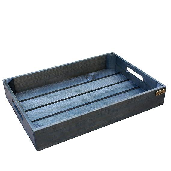 Liza Line Bandeja de Madera con Asas, Estilo Caja Vintage. Desayuno, Snack, Bandeja para Servir de Pino Macizo 50 x 35 x 8 cm (Azul Petróleo): Amazon.es: ...
