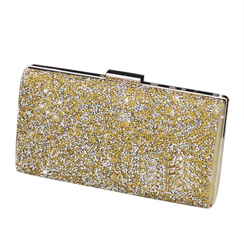 Bolsa de mano con purpurina y diamantes de imitación de Da.Wa, estilo vintage, ideal para boda, regalo de cumpleaños, raso, dorado, Medium: Amazon.es: Hogar