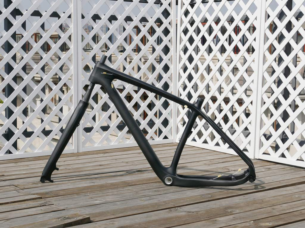 3K Carbon Fiber Matt 29er Mountain Bike Frame 15.5' (for BSA) MTB Frame 135mm x 9mm QR and 142mm x 12mm Thru Axle Compatible Carbon Bicycle Fork 29' flyxii