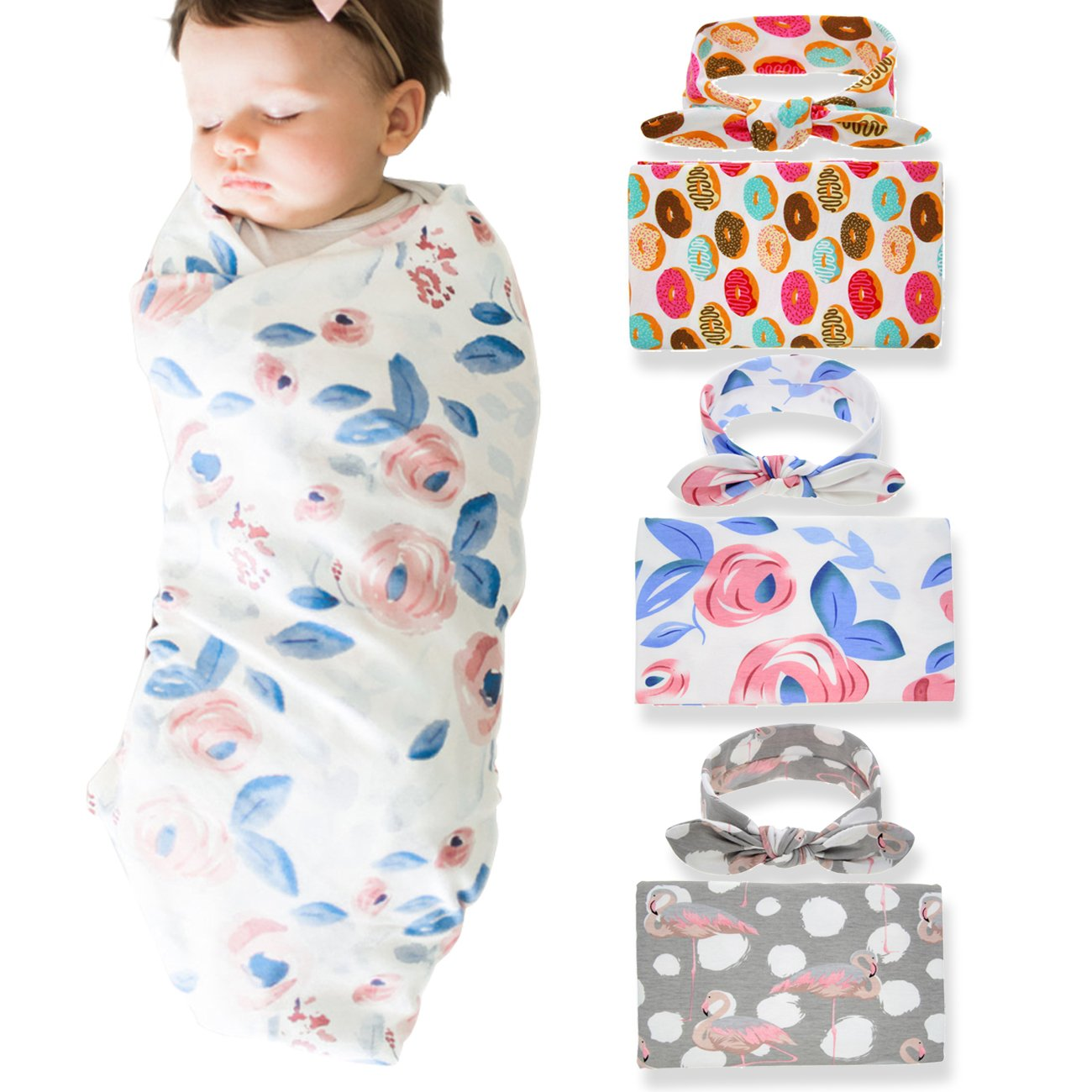3 Pack Newborn Floral Swaddle BQUBO Receiving Blanket with Headbands Hats Sleepsack Toddler Warm