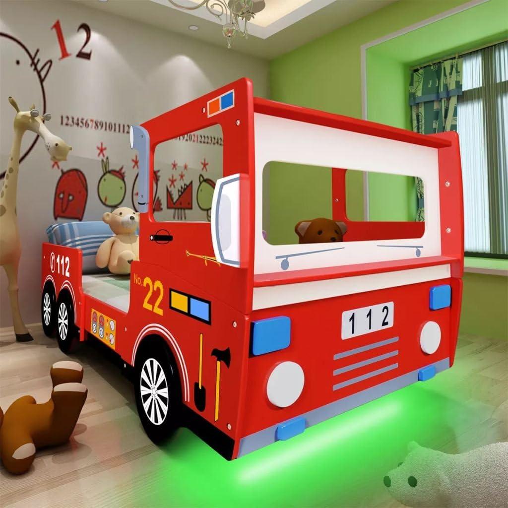 vidaXL Cama Infantil Camión Bomberos LED Colchón Mueble ...