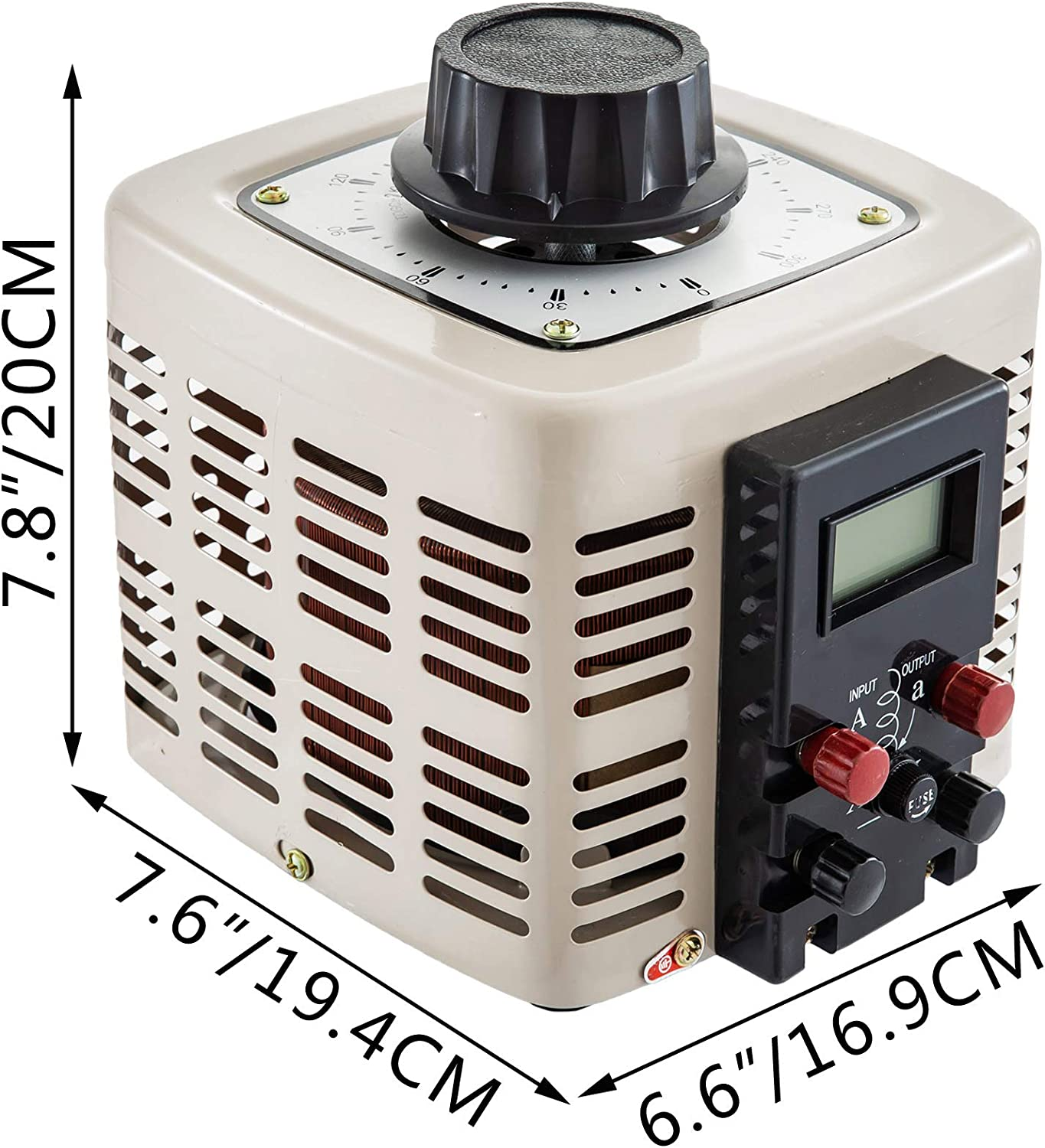 FlowerW 2KVA Variable Output Transformer 220V AC w//Copper Coil Variac Toroidal Core Variable Power Supply 2 Type Single Phase LCD Display with Fuse