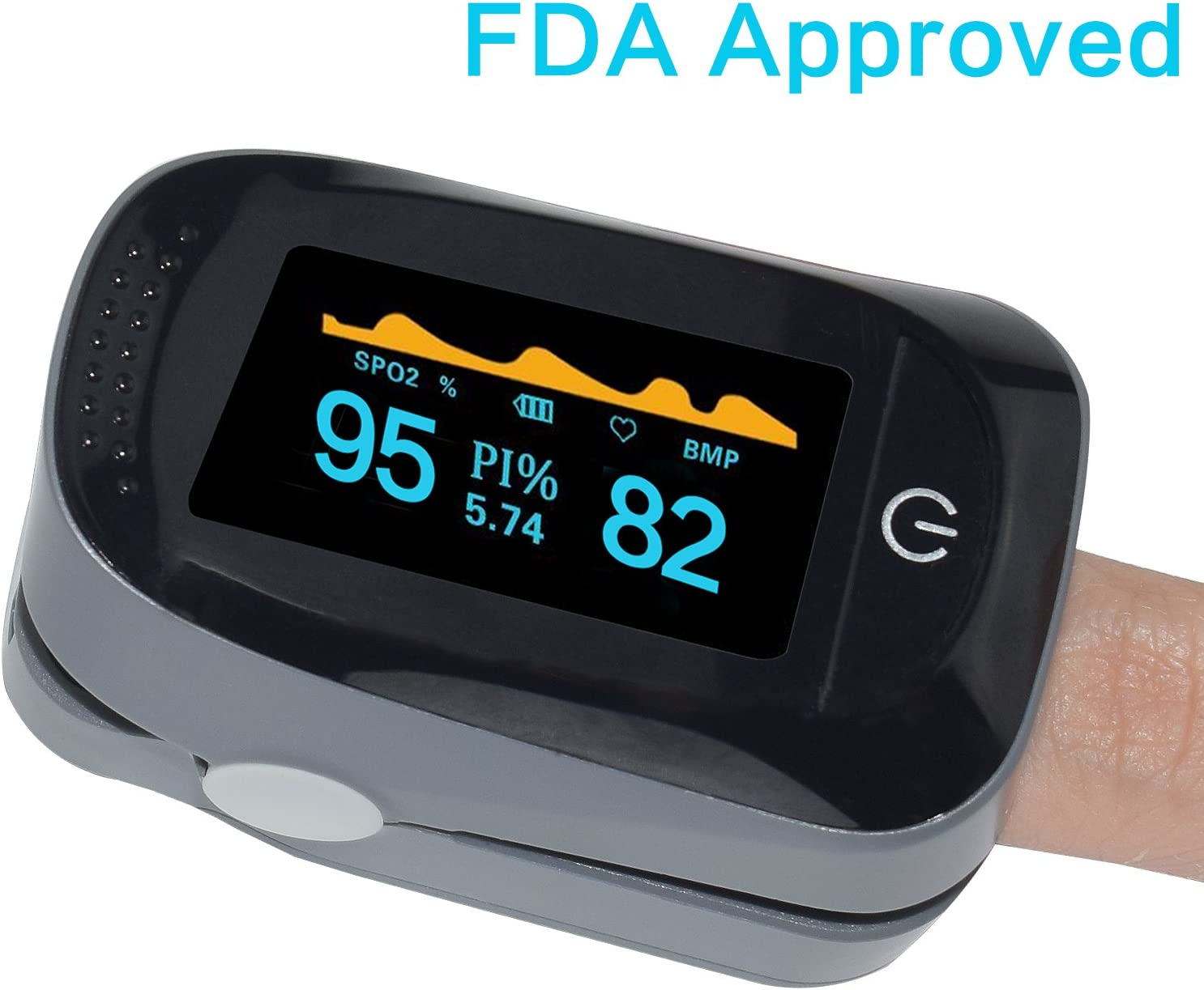 Fingertip Pulse Oximeter Portable Digital Blood Oxygen FDA Approved SPO2 Pulse Sensor Meter with Alarm and Pulse Rate Monitor for Adults and Children Gray