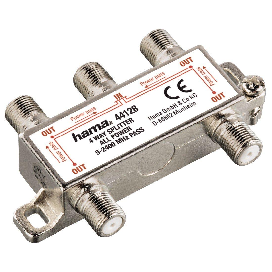 Grigio HAMA Distributore SAT 1 F//2 F Schermato Corpo Metallico Passaggio-Corrente 500 mA 2 Vie