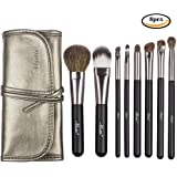 Matto Makeup Brushes Travel Set 8-Piece with Pouch Goat Hair and Synthetic Fibers