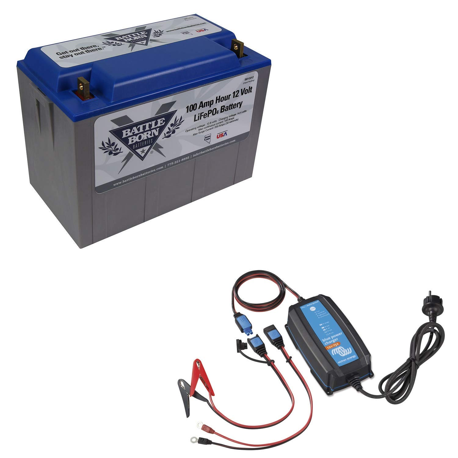 Battle Born Batteries BB10012 100Ah 12V LiFePO4 Lithium Deep Cycle Battery Bundle with Victron IP65 15A Bluetooth Charger by Battle Born Batteries (Image #1)