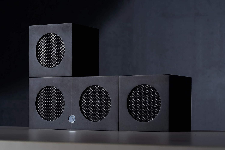 Soundgil High End Hi-Fi Speaker 200-Watt 4 Speaker Bluetooth Wireless Speaker Home Theater Speaker System Premium Anodized Aluminum Bookshelf Superior Stereo Sound System-Cube Speake (Black)