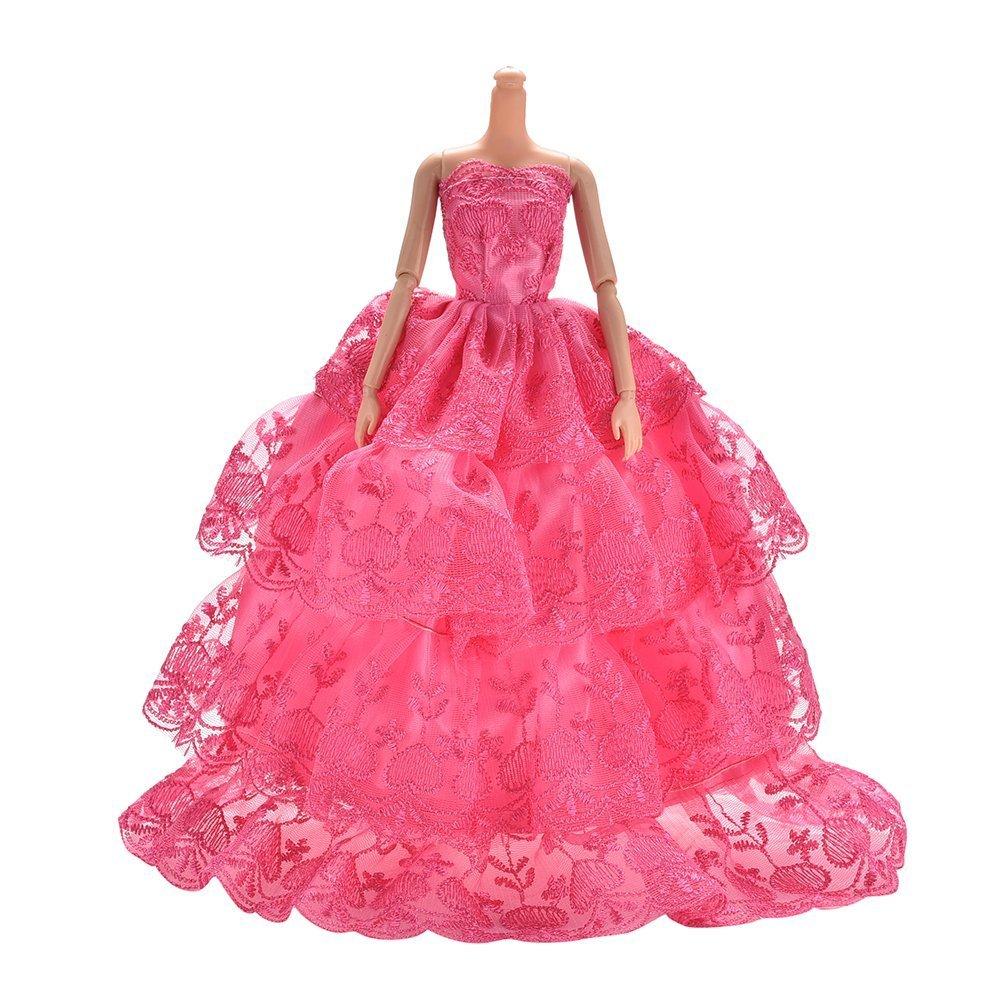 BESTIM INCUK® Rosa hecha a mano de la boda vestido de encaje para 11 ...