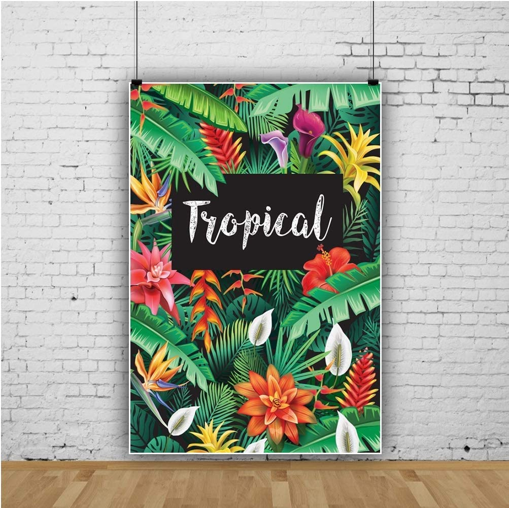 Tropical Backdrop 6.5x10ft Colorful Plants Polyester Photography Backdrop Red Yellow Orange Flowers Green Leaf Summer Scenery Park Garden Jungle Studio Photo Prop Decor Banner Wallpaper